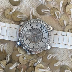 Juicy Couture white strap diamond watch